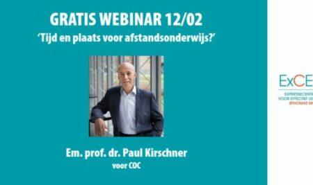 12/02 Paul Kirschner spreekt op gratis webinar COC: tijd en plaats voor afstandsonderwijs?
